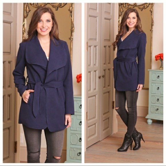 Infinity Raine Jackets & Blazers - HP PICK NWT Super soft navy belted jacket